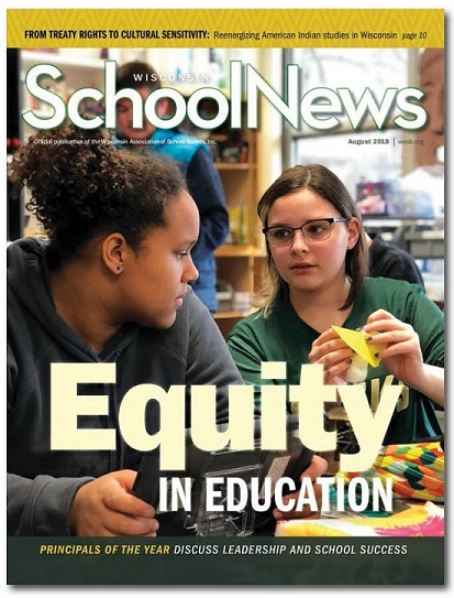 cover of the August 2018 issue of Wisconsin School News