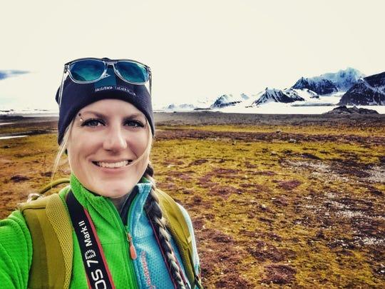 Art teacher Julie Theim takes a selfie in Svalbard, in the High Arctic.
