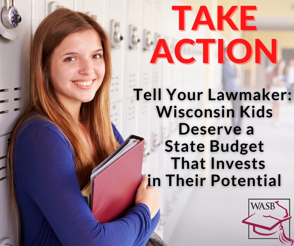 Picture of girl in school and message to contact your legislator